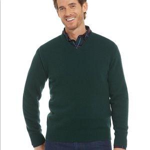 L.L. Bean Green Cashmere V-Neck Sweater Sz Large